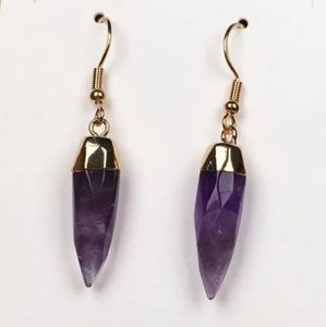 Genuine Amethyst Spike Earrings